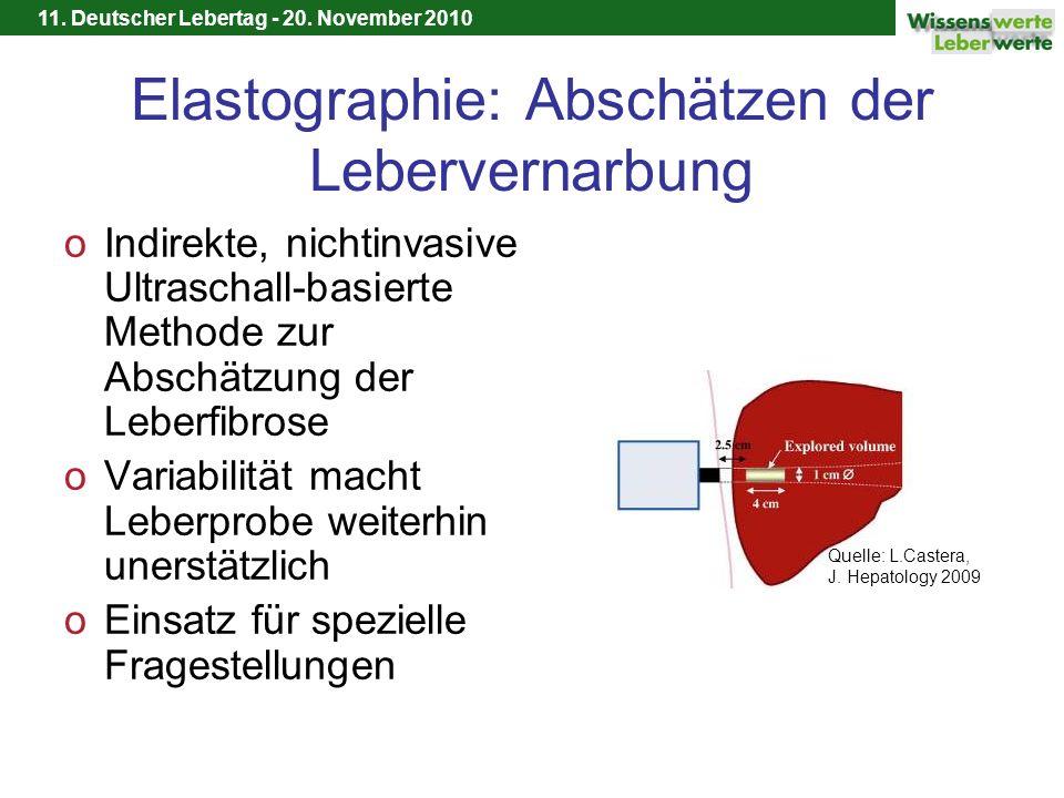 11. Deutscher Lebertag - 20. November 2010 Elastographie: Abschätzen der Lebervernarbung oIndirekte, nichtinvasive Ultraschall-basierte Methode zur Ab