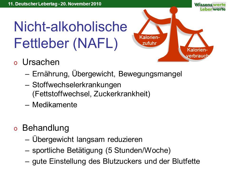 11. Deutscher Lebertag - 20. November 2010 Nicht-alkoholische Fettleber (NAFL) o Ursachen –Ernährung, Übergewicht, Bewegungsmangel –Stoffwechselerkran