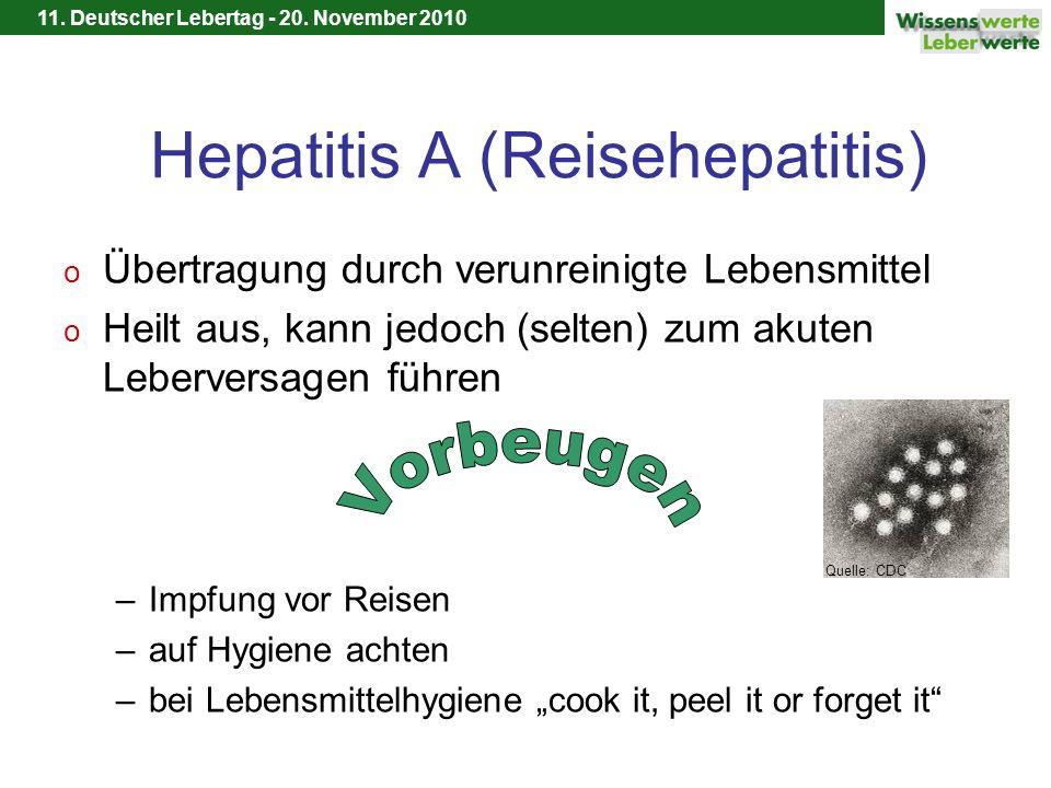 11. Deutscher Lebertag - 20. November 2010 Hepatitis A (Reisehepatitis) o Übertragung durch verunreinigte Lebensmittel o Heilt aus, kann jedoch (selte