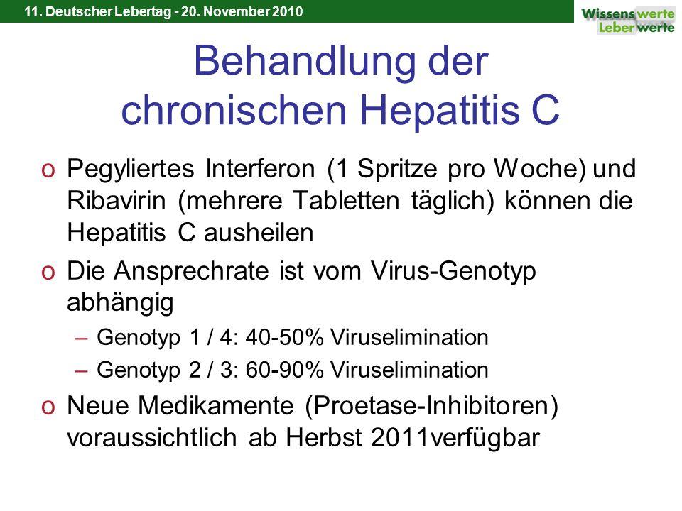 11. Deutscher Lebertag - 20. November 2010 Behandlung der chronischen Hepatitis C oPegyliertes Interferon (1 Spritze pro Woche) und Ribavirin (mehrere
