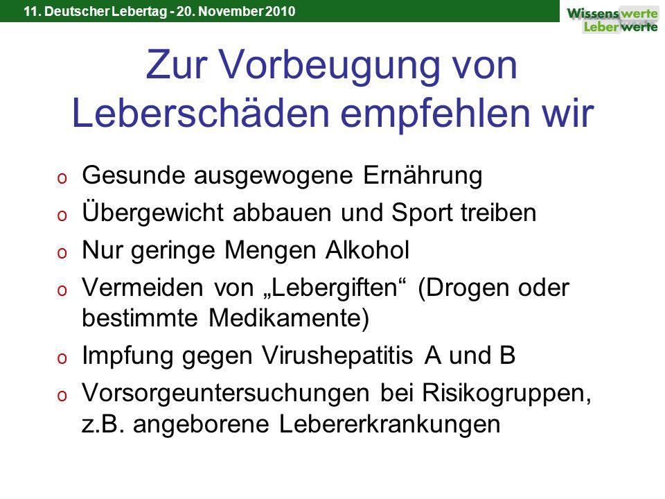 11. Deutscher Lebertag - 20. November 2010 Zur Vorbeugung von Leberschäden empfehlen wir o Gesunde ausgewogene Ernährung o Übergewicht abbauen und Spo