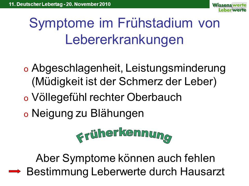 11. Deutscher Lebertag - 20. November 2010 Symptome im Frühstadium von Lebererkrankungen o Abgeschlagenheit, Leistungsminderung (Müdigkeit ist der Sch