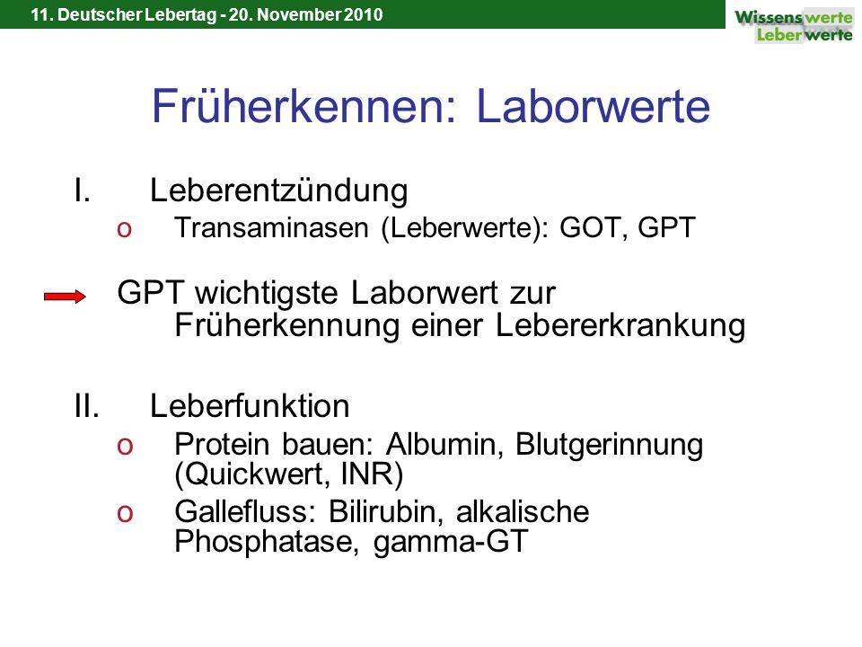 11. Deutscher Lebertag - 20. November 2010 Früherkennen: Laborwerte I.Leberentzündung oTransaminasen (Leberwerte): GOT, GPT GPT wichtigste Laborwert z