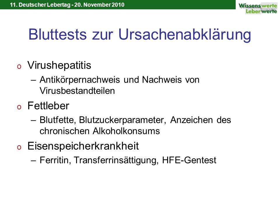 11. Deutscher Lebertag - 20. November 2010 Bluttests zur Ursachenabklärung o Virushepatitis –Antikörpernachweis und Nachweis von Virusbestandteilen o