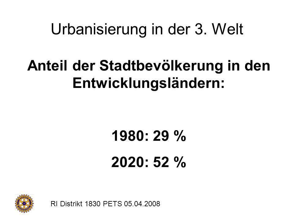RI Distrikt 1830 PETS 05.04.2008 Urbanisierung in der 3. Welt Anteil der Stadtbevölkerung in den Entwicklungsländern: 1980: 29 % 2020: 52 %