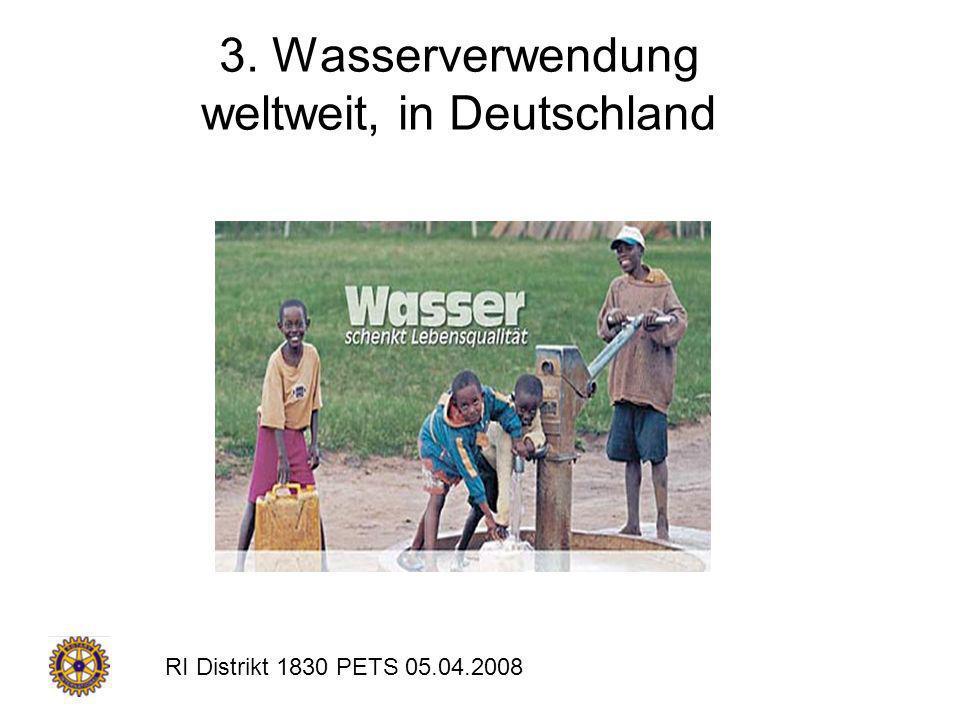 RI Distrikt 1830 PETS 05.04.2008 3. Wasserverwendung weltweit, in Deutschland