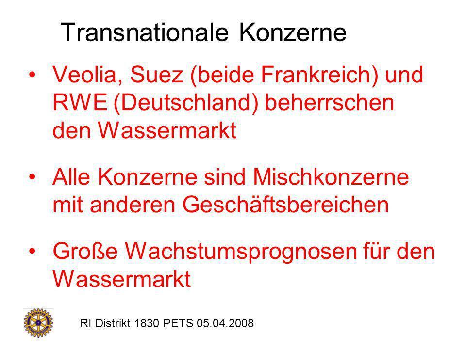RI Distrikt 1830 PETS 05.04.2008 Transnationale Konzerne Veolia, Suez (beide Frankreich) und RWE (Deutschland) beherrschen den Wassermarkt Alle Konzer
