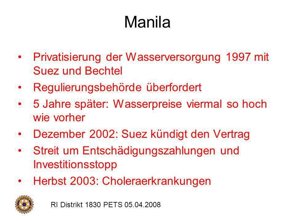 RI Distrikt 1830 PETS 05.04.2008 Manila Privatisierung der Wasserversorgung 1997 mit Suez und Bechtel Regulierungsbehörde überfordert 5 Jahre später: