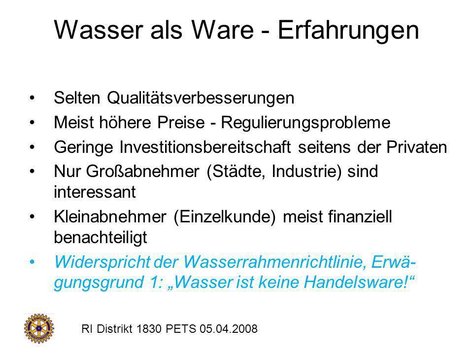 RI Distrikt 1830 PETS 05.04.2008 Wasser als Ware - Erfahrungen Selten Qualitätsverbesserungen Meist höhere Preise - Regulierungsprobleme Geringe Inves