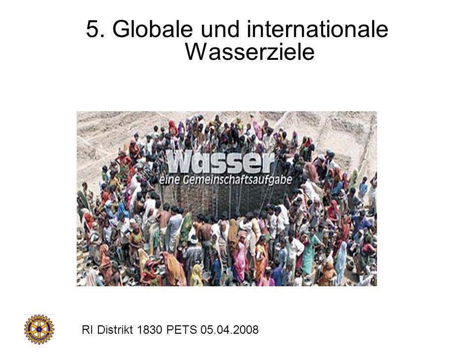 RI Distrikt 1830 PETS 05.04.2008 5. Globale und internationale Wasserziele