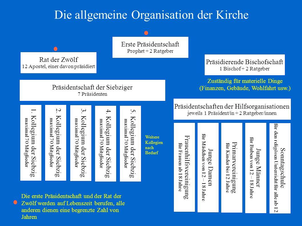 4. Kollegium der Siebzig maximal 70 Mitglieder Präsidentschaften der Hilfsorganisationen jeweils 1 Präsident/in + 2 Ratgeber/innen Die allgemeine Orga