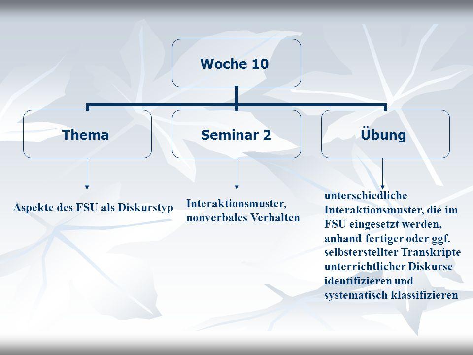 Woche 10 Thema Seminar 2 Übung Aspekte des FSU als Diskurstyp Interaktionsmuster, nonverbales Verhalten unterschiedliche Interaktionsmuster, die im FS