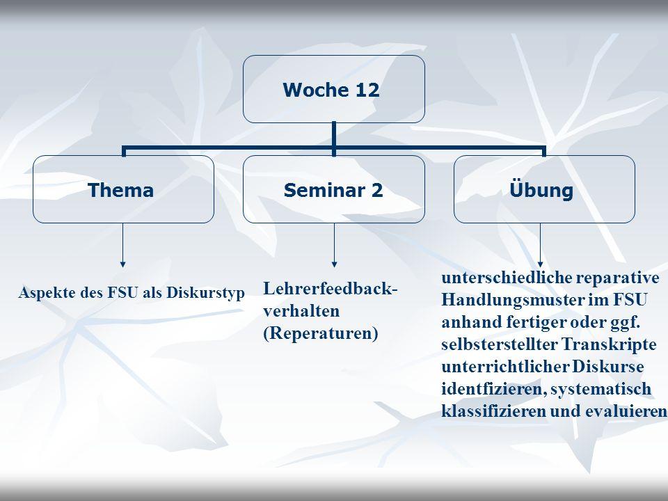 Woche 12 Thema Seminar 2 Übung Aspekte des FSU als Diskurstyp Lehrerfeedback- verhalten (Reperaturen) unterschiedliche reparative Handlungsmuster im F