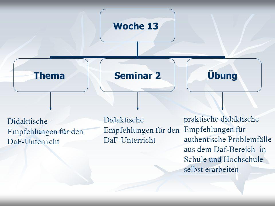 Woche 13 Thema Seminar 2 Übung Didaktische Empfehlungen für den DaF-Unterricht Didaktische Empfehlungen für den DaF-Unterricht praktische didaktische