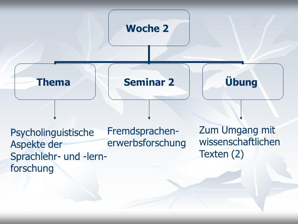 Woche 3 Thema Seminar 2 Übung Lernersprachanalyse Linguistische Grundlagen (Selbst-)Erstellung von Materialien anhand verschiedener Datenerhebungsmethoden (Unterrichtsbeobachtung, Fragebogen, Aufnahme von unterrichtlichen Diskursen)