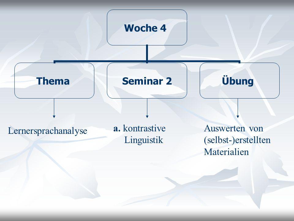 Woche 4 Thema Seminar 2 Übung Lernersprachanalyse a. kontrastive Linguistik Auswerten von (selbst-)erstellten Materialien