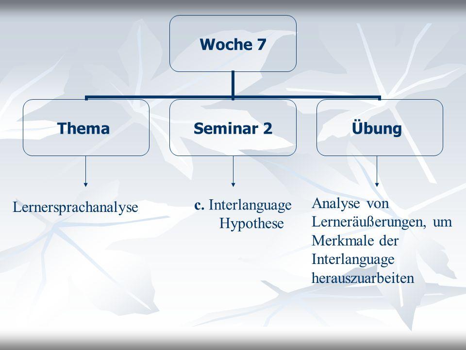 Woche 7 Thema Seminar 2 Übung Lernersprachanalyse c. Interlanguage Hypothese Analyse von Lerneräußerungen, um Merkmale der Interlanguage herauszuarbei