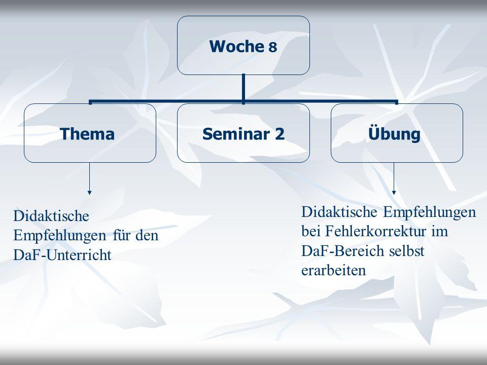 Woche 9 Thema Seminar 2 Übung Aspekte des FSU als Diskurstyp exemplarisch an: Interaktionsmustern Rollenverhältnissen, Turn-Taking, nonverbalem Verhalten, Reparaturen FSU als Diskurstyp spezifische Charakteristika, analytische Verfahren derer Interaktion fertige oder ggf.