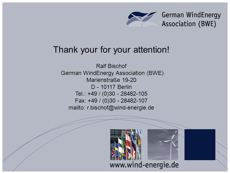 Thank your for your attention! Ralf Bischof German WindEnergy Association (BWE) Marienstraße 19-20 D - 10117 Berlin Tel.: +49 / (0)30 - 28482-105 Fax: