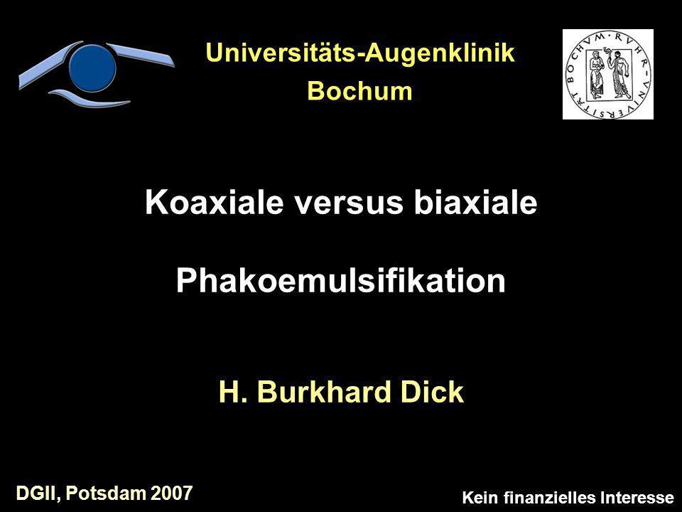 Koaxiale versus biaxiale Phakoemulsifikation H. Burkhard Dick Kein finanzielles Interesse Universitäts-Augenklinik Bochum DGII, Potsdam 2007