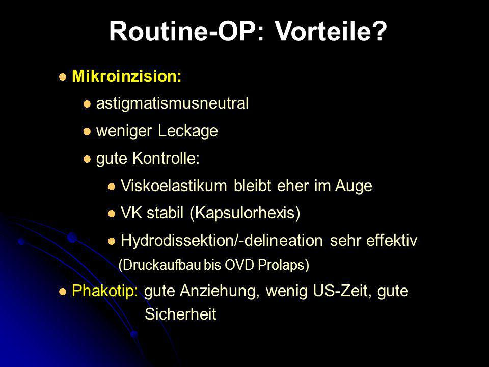 Mikroinzision: astigmatismusneutral weniger Leckage gute Kontrolle: Viskoelastikum bleibt eher im Auge VK stabil (Kapsulorhexis) Hydrodissektion/-deli