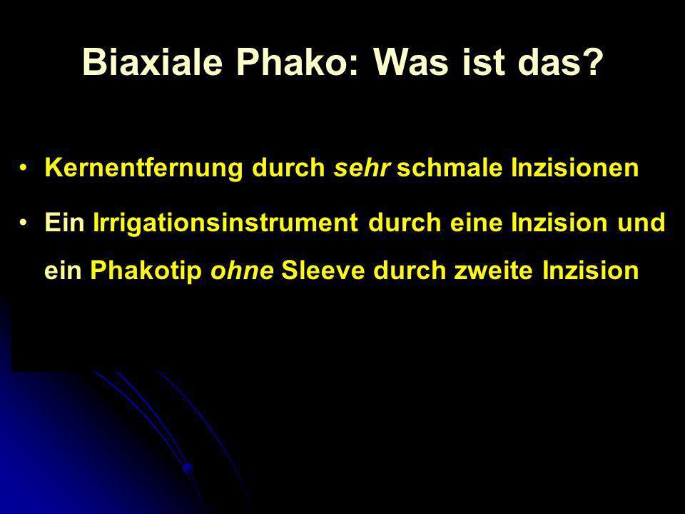 Biaxiale Phako: Was ist das? Kernentfernung durch sehr schmale Inzisionen Ein Irrigationsinstrument durch eine Inzision und ein Phakotip ohne Sleeve d