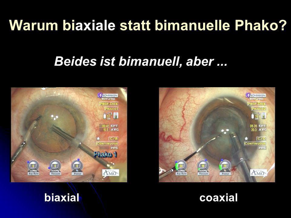 Warum biaxiale statt bimanuelle Phako? biaxialcoaxial Beides ist bimanuell, aber...