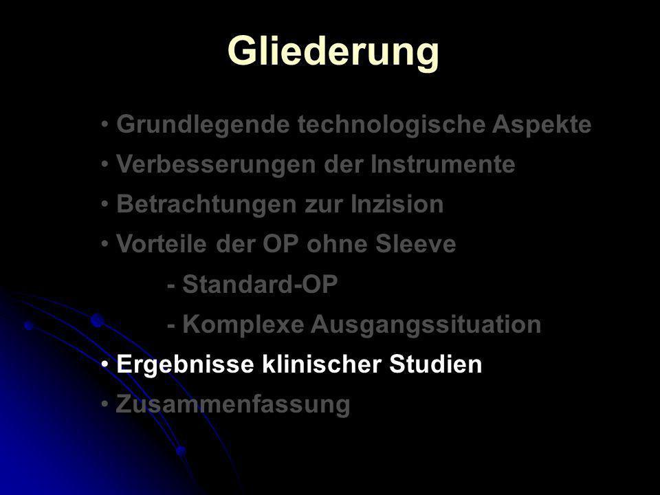 Gliederung Grundlegende technologische Aspekte Verbesserungen der Instrumente Betrachtungen zur Inzision Vorteile der OP ohne Sleeve - Standard-OP - K