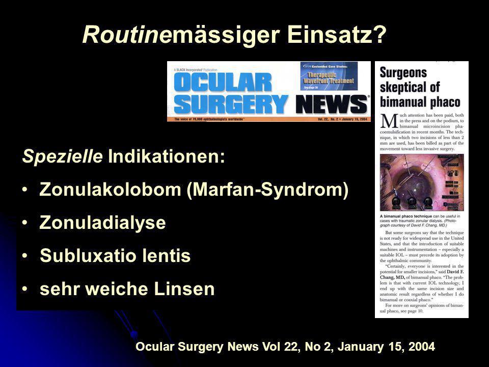 Routinemässiger Einsatz? Spezielle Indikationen: Zonulakolobom (Marfan-Syndrom) Zonuladialyse Subluxatio lentis sehr weiche Linsen Ocular Surgery News