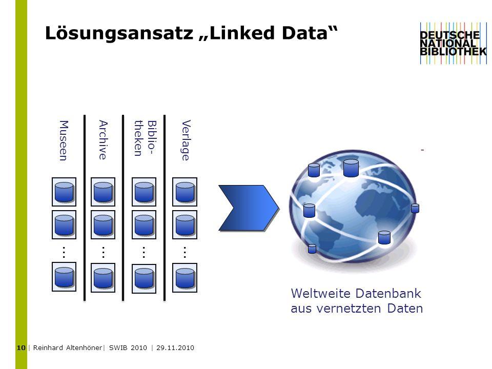 Lösungsansatz Linked Data Weltweite Datenbank aus vernetzten Daten MuseenArchive Biblio- theken... Verlage... 10 | Reinhard Altenhöner| SWIB 2010 | 29