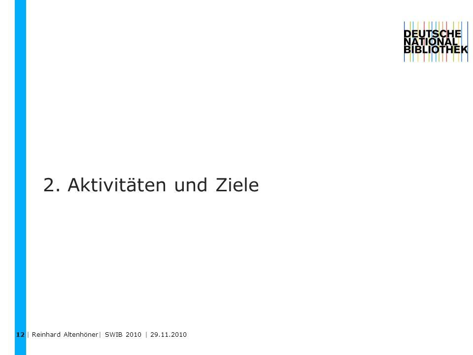 2. Aktivitäten und Ziele 12 | Reinhard Altenhöner| SWIB 2010 | 29.11.2010