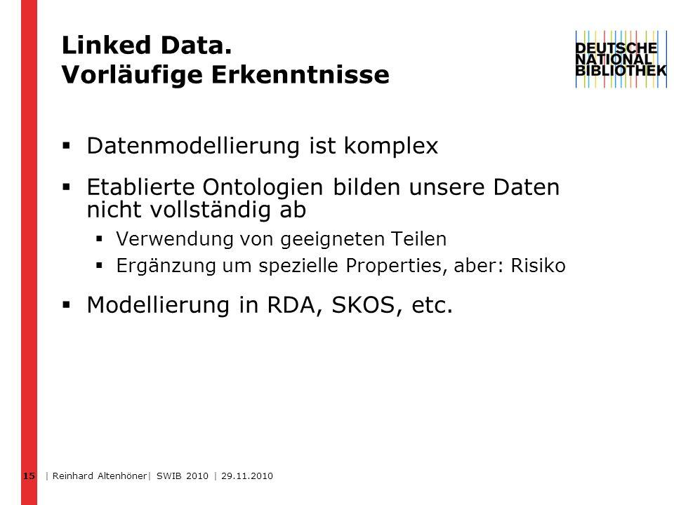 15 Linked Data. Vorläufige Erkenntnisse Datenmodellierung ist komplex Etablierte Ontologien bilden unsere Daten nicht vollständig ab Verwendung von ge