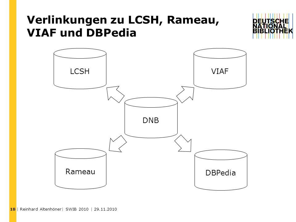 Verlinkungen zu LCSH, Rameau, VIAF und DBPedia 18 DNB VIAF DBPedia LCSH Rameau | Reinhard Altenhöner| SWIB 2010 | 29.11.2010