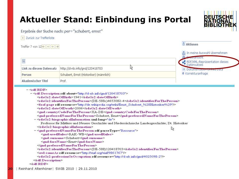 Aktueller Stand: Einbindung ins Portal 20 | Reinhard Altenhöner| SWIB 2010 | 29.11.2010