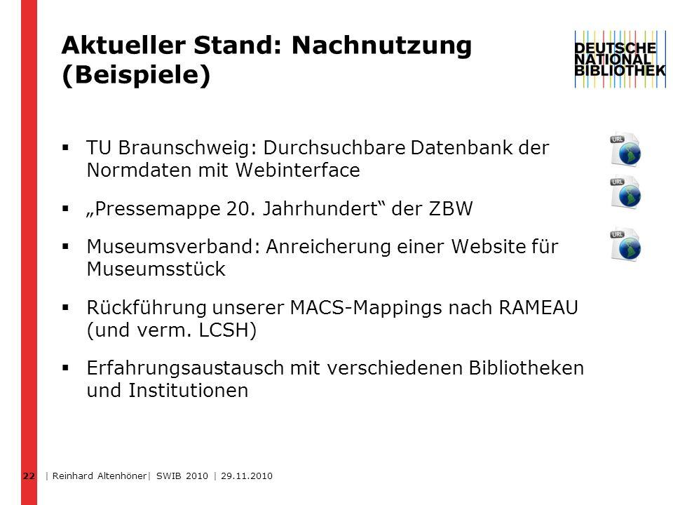 22 Aktueller Stand: Nachnutzung (Beispiele) TU Braunschweig: Durchsuchbare Datenbank der Normdaten mit Webinterface Pressemappe 20. Jahrhundert der ZB