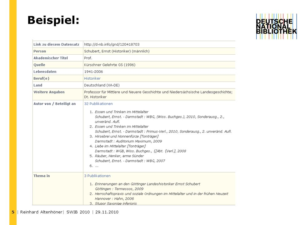 Beispiel: | Reinhard Altenhöner| SWIB 2010 | 29.11.2010 5
