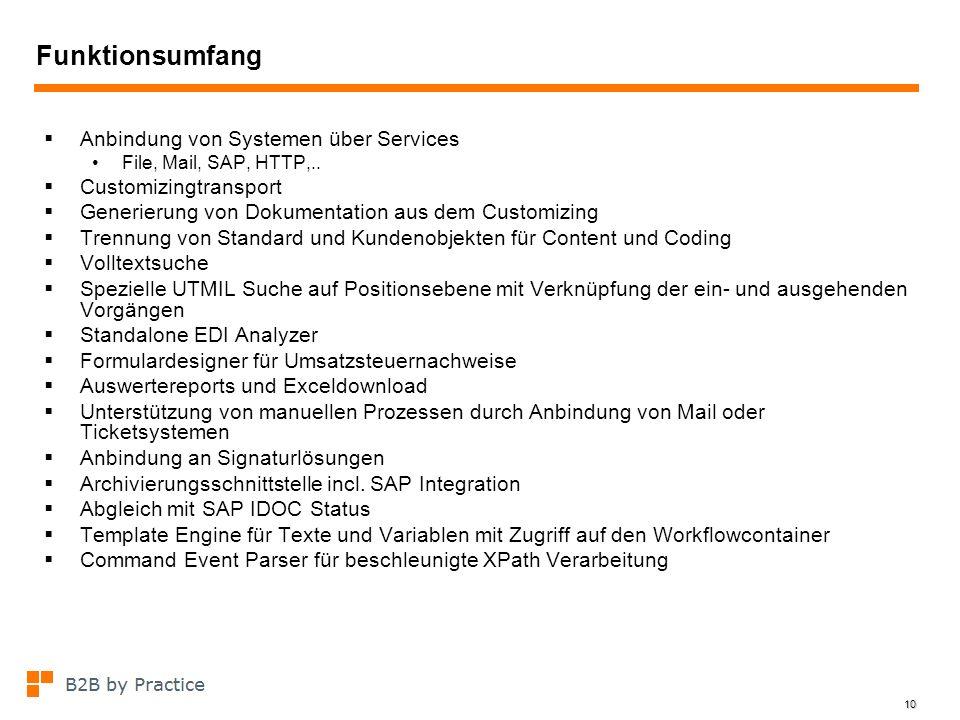 10 Funktionsumfang Anbindung von Systemen über Services File, Mail, SAP, HTTP,.. Customizingtransport Generierung von Dokumentation aus dem Customizin
