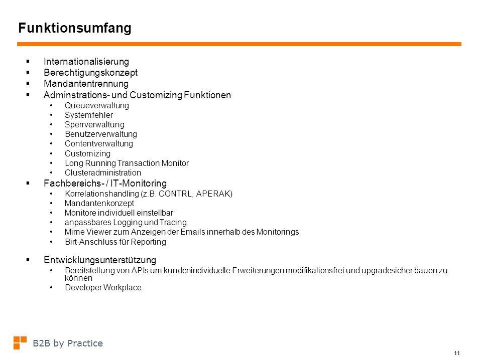 11 Funktionsumfang Internationalisierung Berechtigungskonzept Mandantentrennung Adminstrations- und Customizing Funktionen Queueverwaltung Systemfehle
