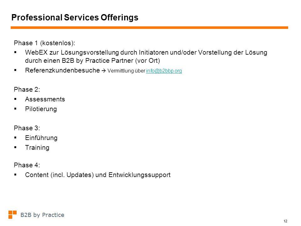 12 Professional Services Offerings Phase 1 (kostenlos): WebEX zur Lösungsvorstellung durch Initiatoren und/oder Vorstellung der Lösung durch einen B2B