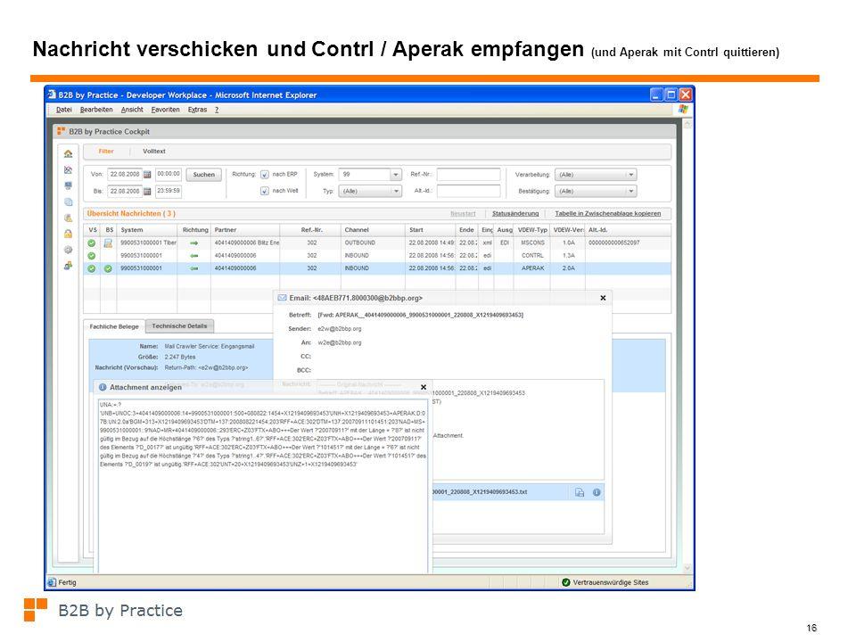16 Nachricht verschicken und Contrl / Aperak empfangen (und Aperak mit Contrl quittieren)