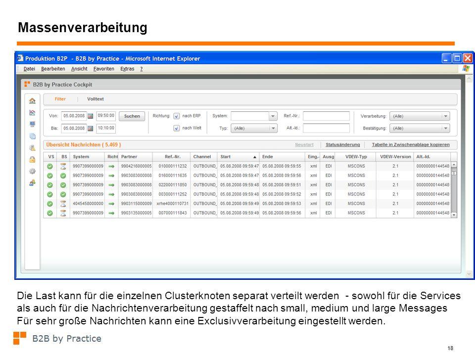 18 Massenverarbeitung Die Last kann für die einzelnen Clusterknoten separat verteilt werden - sowohl für die Services als auch für die Nachrichtenvera