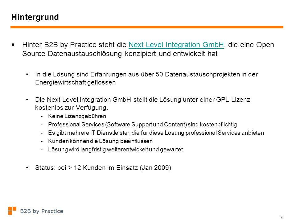 2 Hintergrund Hinter B2B by Practice steht die Next Level Integration GmbH, die eine Open Source Datenaustauschlösung konzipiert und entwickelt hatNex