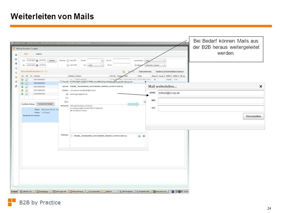 24 Weiterleiten von Mails Bei Bedarf können Mails aus der B2B heraus weitergeleitet werden.