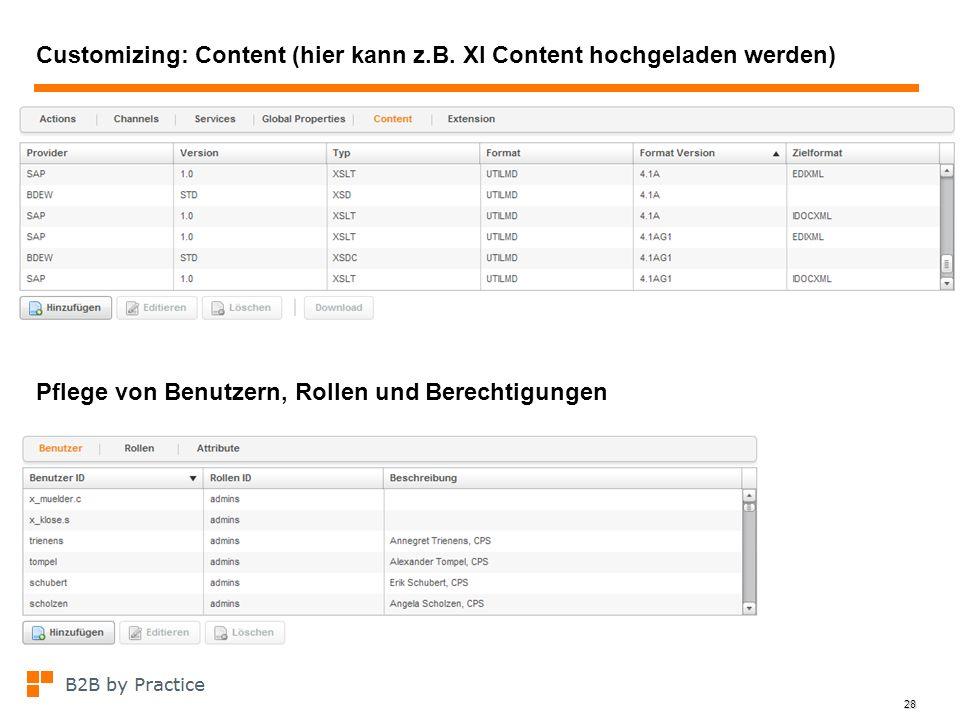 28 Customizing: Content (hier kann z.B. XI Content hochgeladen werden) Pflege von Benutzern, Rollen und Berechtigungen