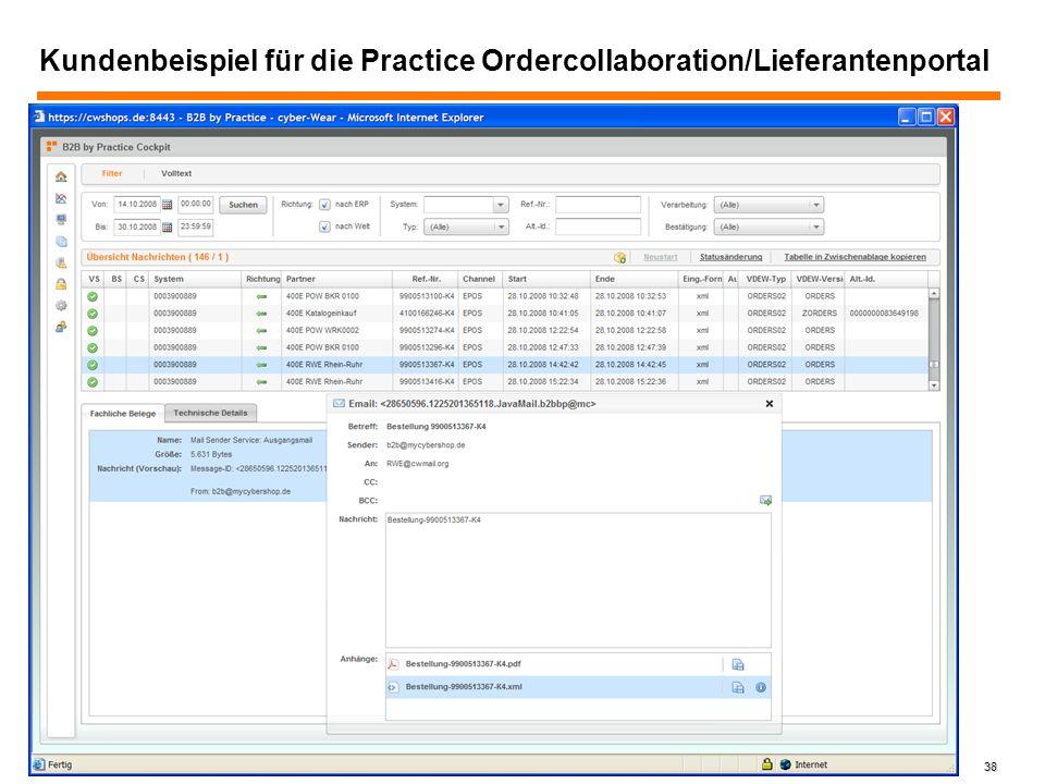 38 Kundenbeispiel für die Practice Ordercollaboration/Lieferantenportal