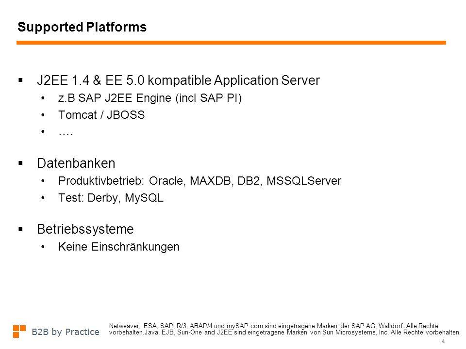 4 Supported Platforms J2EE 1.4 & EE 5.0 kompatible Application Server z.B SAP J2EE Engine (incl SAP PI) Tomcat / JBOSS …. Datenbanken Produktivbetrieb