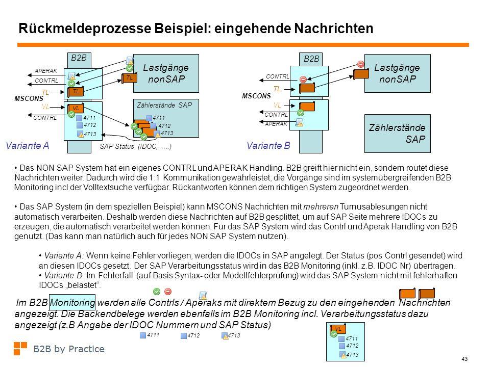 43 Rückmeldeprozesse Beispiel: eingehende Nachrichten MSCONS Lastgänge nonSAP CONTRL APERAK Das NON SAP System hat ein eigenes CONTRL und APERAK Handl