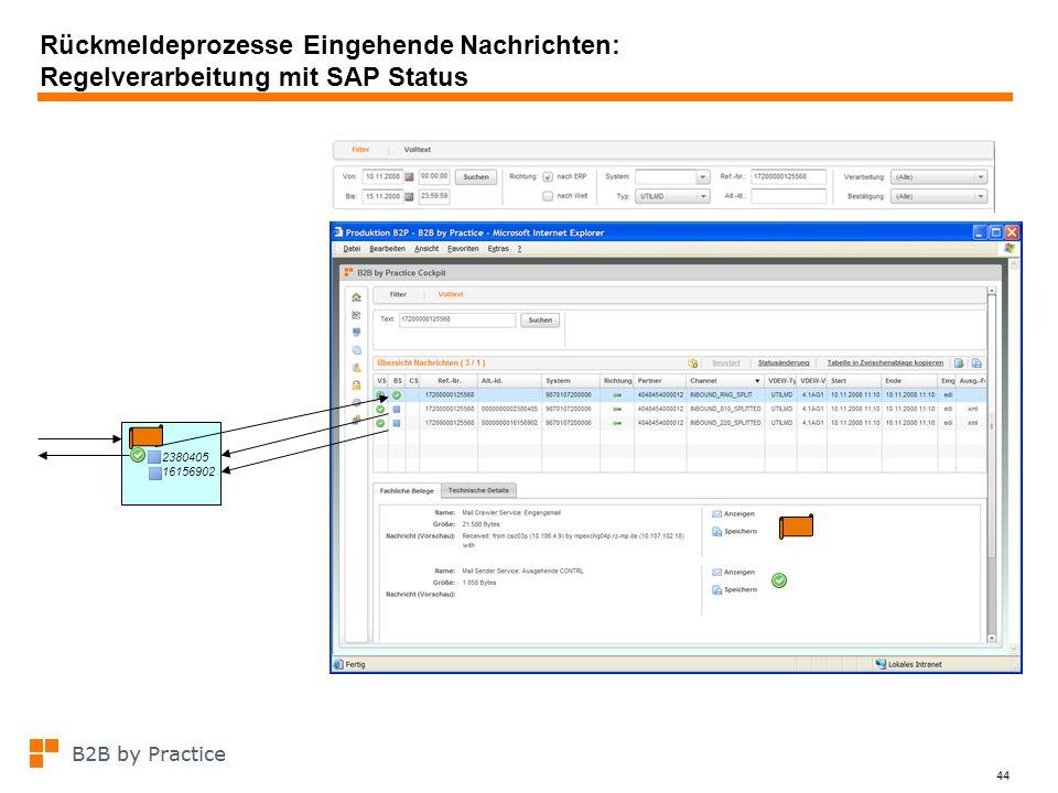 44 Rückmeldeprozesse Eingehende Nachrichten: Regelverarbeitung mit SAP Status 2380405 16156902