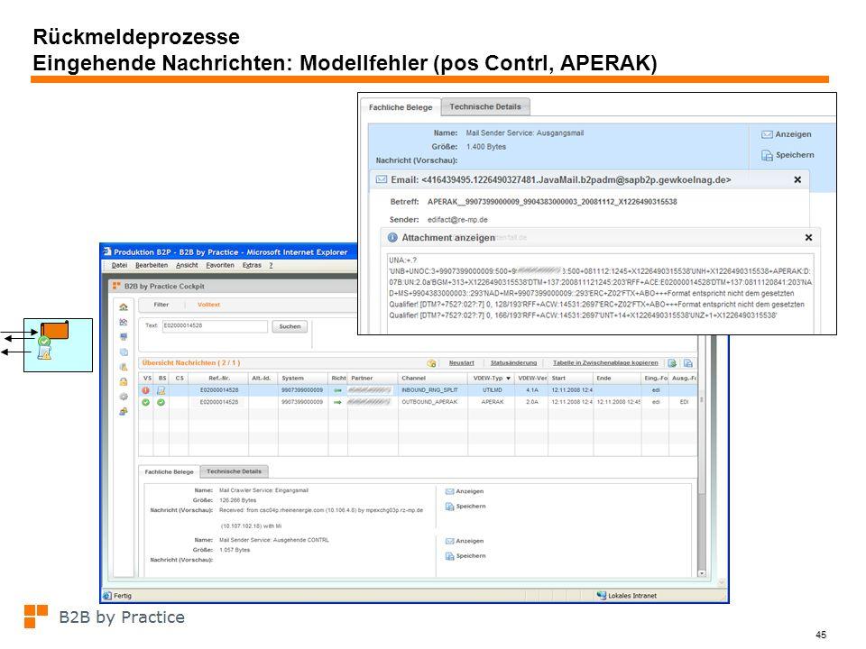 45 Rückmeldeprozesse Eingehende Nachrichten: Modellfehler (pos Contrl, APERAK) pos Contrl auf Aperak