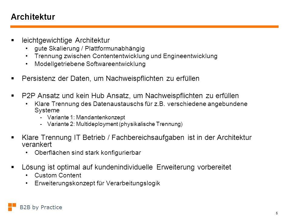 5 Architektur leichtgewichtige Architektur gute Skalierung / Plattformunabhängig Trennung zwischen Contententwicklung und Engineentwicklung Modellgetr